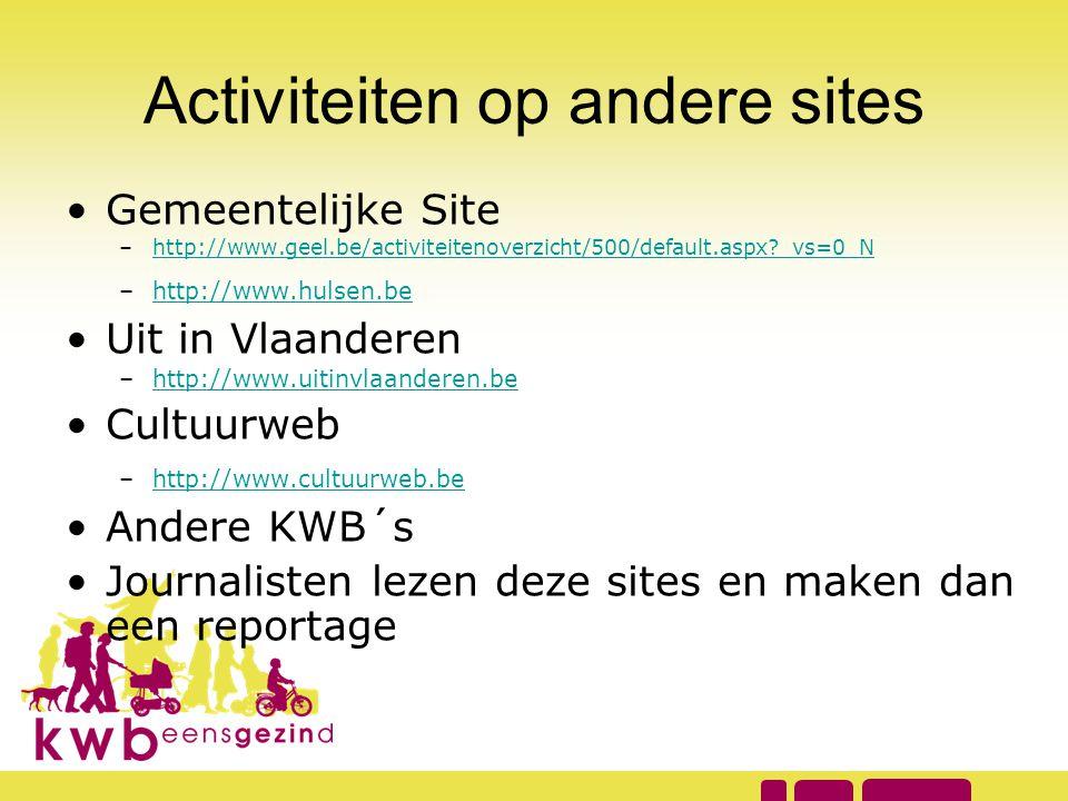 Activiteiten op andere sites •Gemeentelijke Site –http://www.geel.be/activiteitenoverzicht/500/default.aspx?_vs=0_Nhttp://www.geel.be/activiteitenover