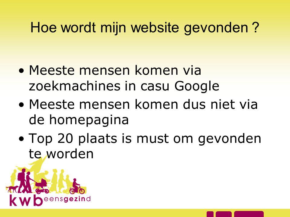 •Meeste mensen komen via zoekmachines in casu Google •Meeste mensen komen dus niet via de homepagina •Top 20 plaats is must om gevonden te worden
