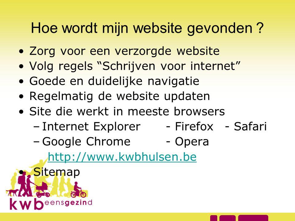 """Hoe wordt mijn website gevonden ? •Zorg voor een verzorgde website •Volg regels """"Schrijven voor internet"""" •Goede en duidelijke navigatie •Regelmatig d"""