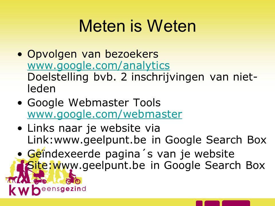 Meten is Weten •Opvolgen van bezoekers www.google.com/analytics Doelstelling bvb. 2 inschrijvingen van niet- leden www.google.com/analytics •Google We
