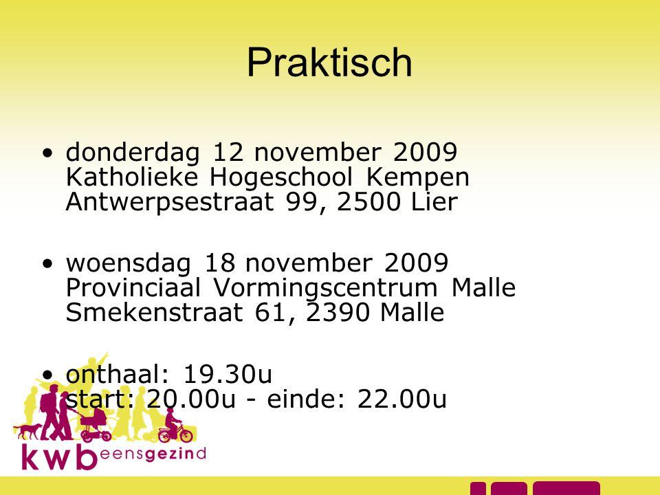 Praktisch •donderdag 12 november 2009 Katholieke Hogeschool Kempen Antwerpsestraat 99, 2500 Lier •woensdag 18 november 2009 Provinciaal Vormingscentru