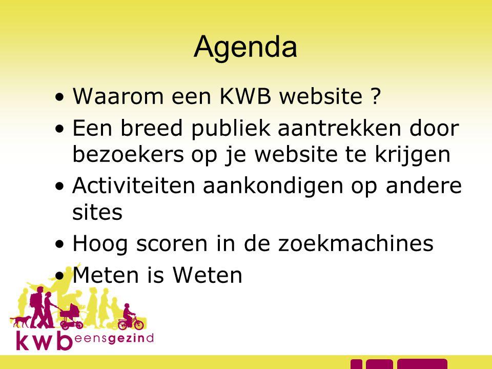 Agenda •Waarom een KWB website ? •Een breed publiek aantrekken door bezoekers op je website te krijgen •Activiteiten aankondigen op andere sites •Hoog