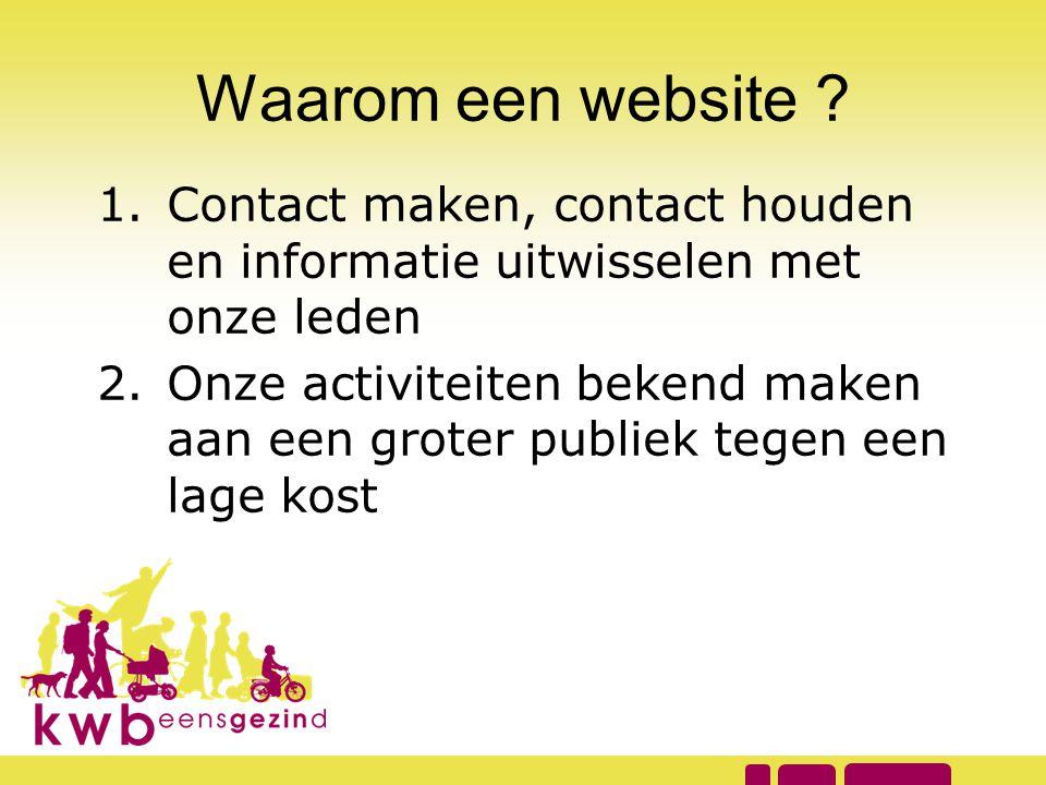 Waarom een website ? 1.Contact maken, contact houden en informatie uitwisselen met onze leden 2.Onze activiteiten bekend maken aan een groter publiek