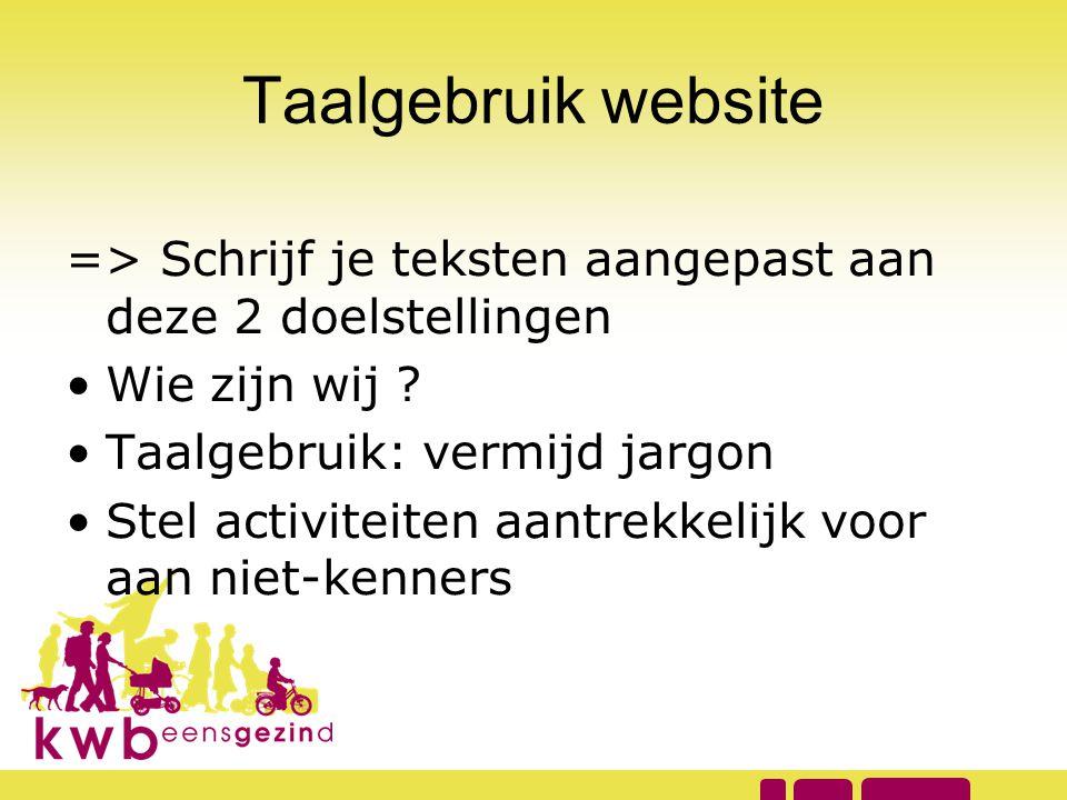 Taalgebruik website => Schrijf je teksten aangepast aan deze 2 doelstellingen •Wie zijn wij ? •Taalgebruik: vermijd jargon •Stel activiteiten aantrekk