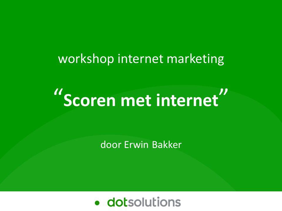 In deze workshop Workshop Internet marketing Scoren met het internet 1.Wie zijn wij 2.Uw domein 3.Doeltreffendheid 4.Gebruiksnormen 5.Uitstraling 6.Rendement 7.Website scan 8.Vragen?