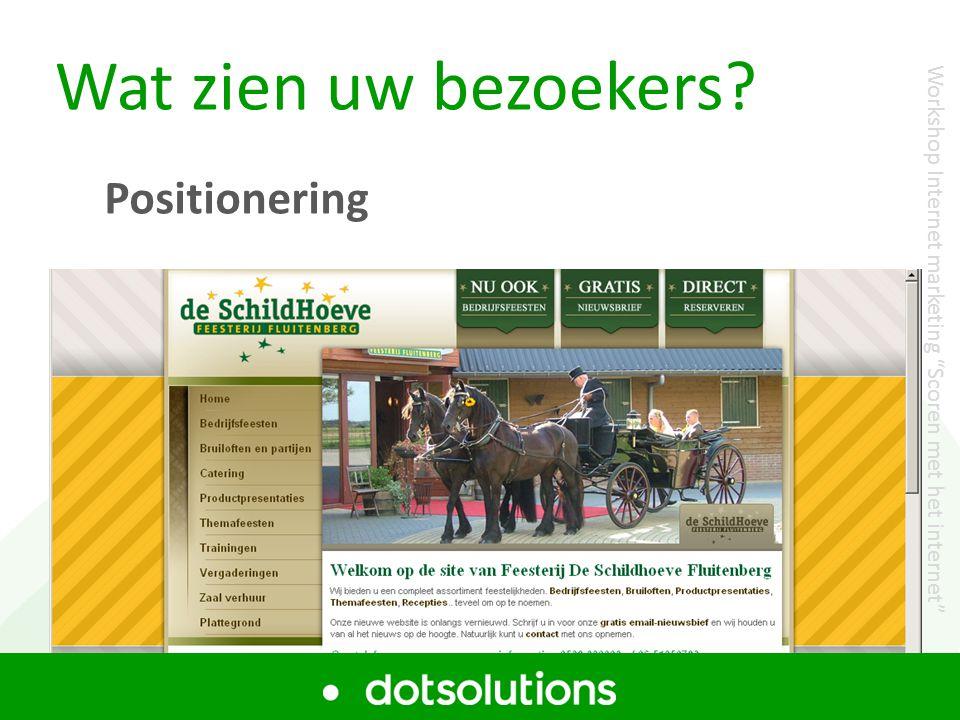 Wat zien uw bezoekers? Positionering Workshop Internet marketing Scoren met het internet