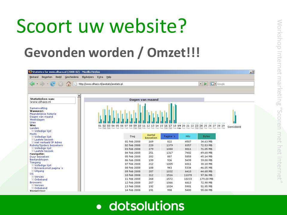 """Scoort uw website? Gevonden worden / Omzet!!! Workshop Internet marketing """"Scoren met het internet"""""""