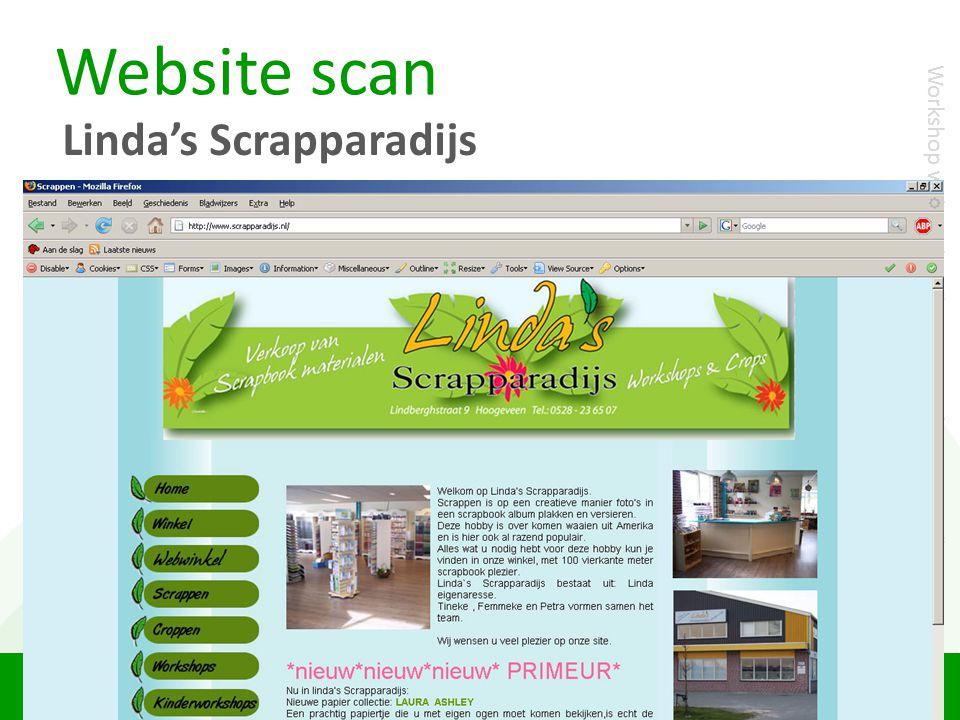 """Website scan Linda's Scrapparadijs Workshop webanalyse """"Scoren met het internet"""""""