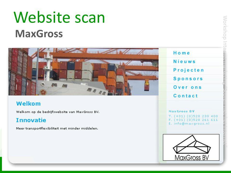 """Website scan MaxGross Workshop Internet marketing """"Scoren met het internet"""""""