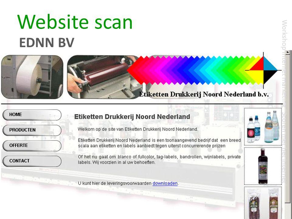 "Website scan EDNN BV Workshop Internet marketing ""Scoren met het internet"""