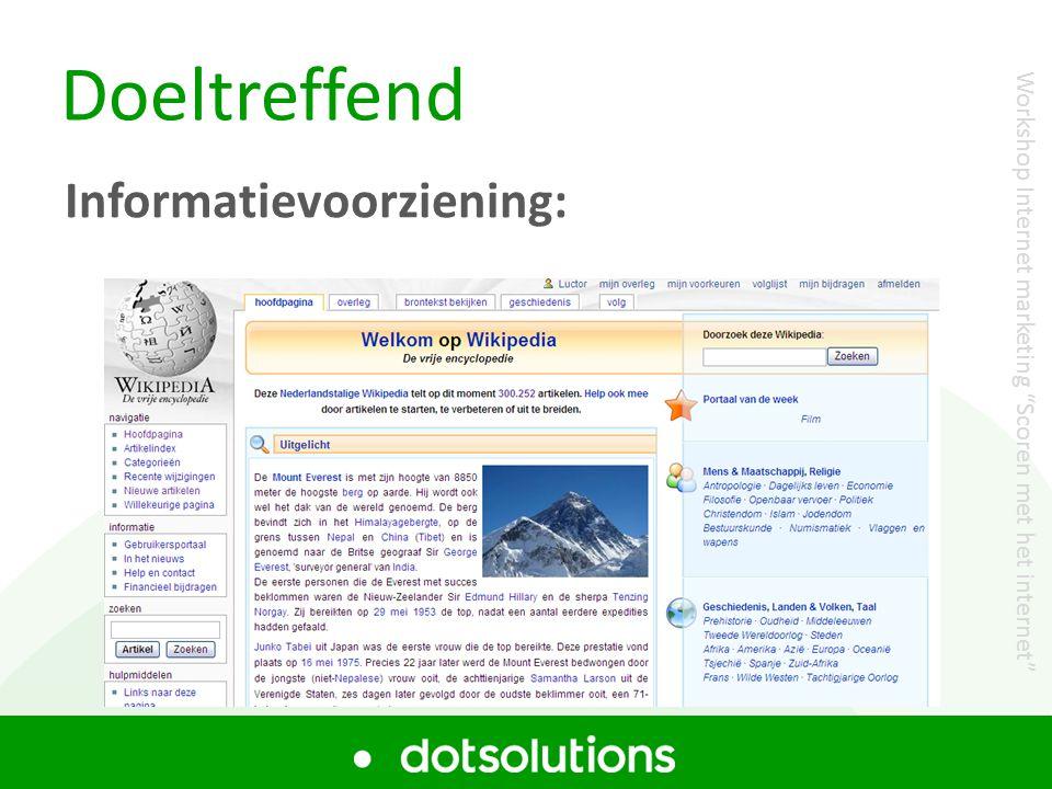 """Doeltreffend Informatievoorziening: Workshop Internet marketing """"Scoren met het internet"""""""