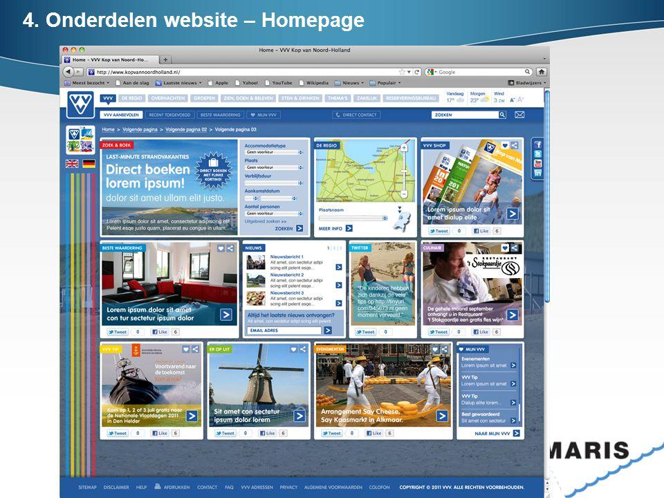 4. Onderdelen website – Homepage