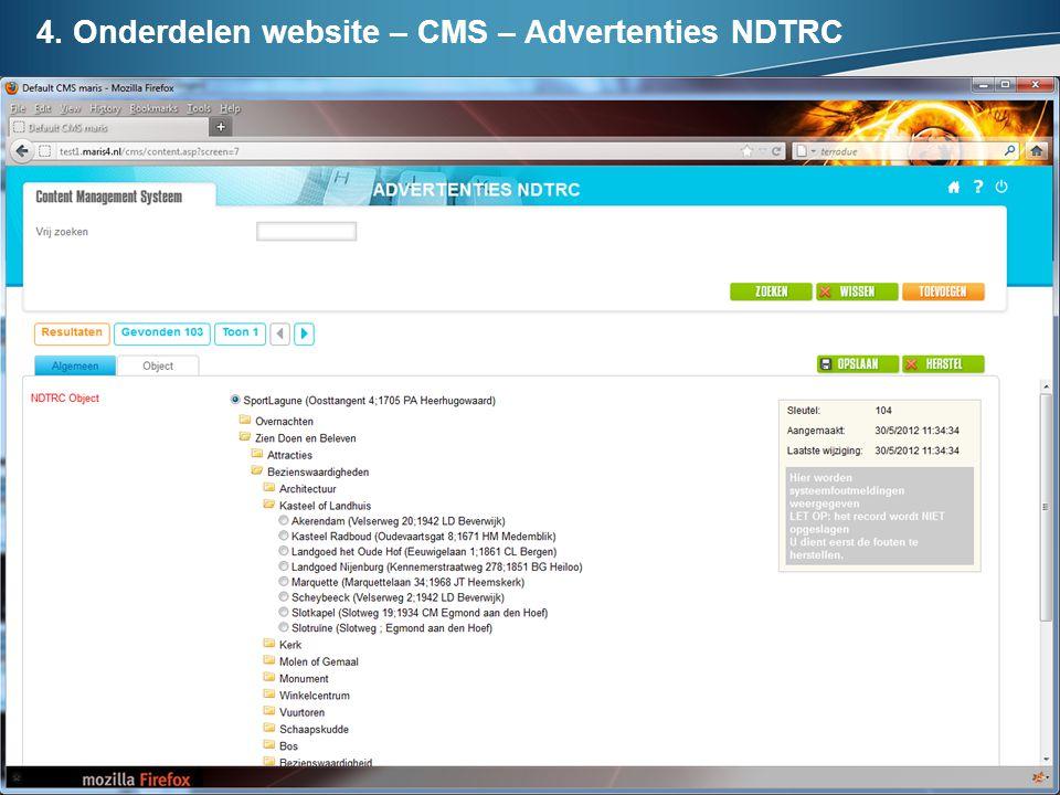 4. Onderdelen website – CMS – Advertenties NDTRC
