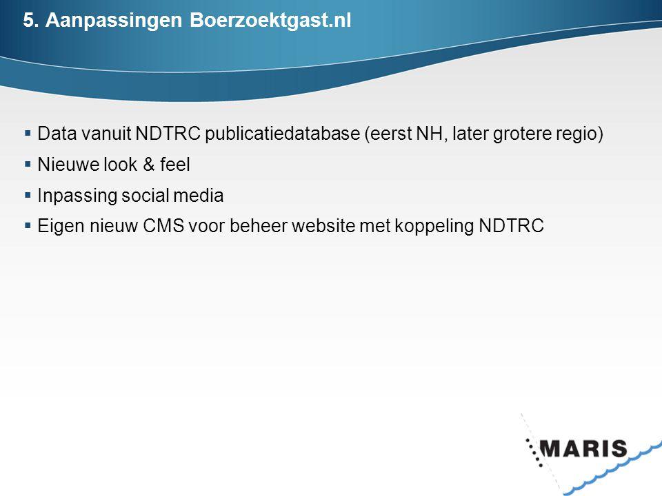 5. Aanpassingen Boerzoektgast.nl  Data vanuit NDTRC publicatiedatabase (eerst NH, later grotere regio)  Nieuwe look & feel  Inpassing social media