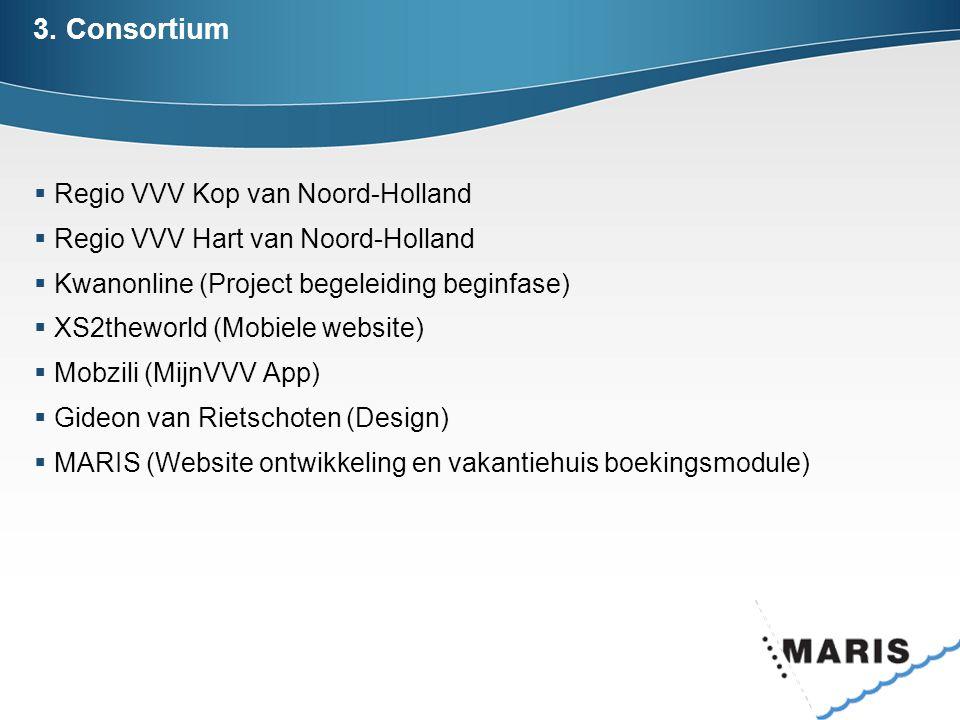 3. Consortium  Regio VVV Kop van Noord-Holland  Regio VVV Hart van Noord-Holland  Kwanonline (Project begeleiding beginfase)  XS2theworld (Mobiele