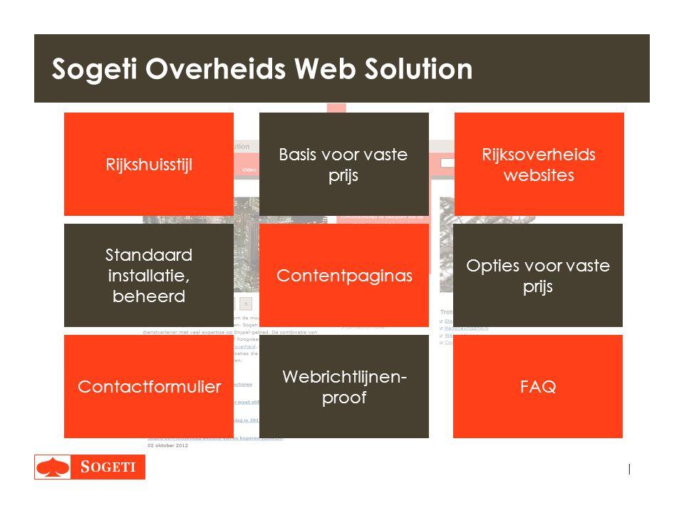 | Sogeti Overheids Web Solution Rijksoverheids websites Basis voor vaste prijs Contentpaginas FAQContactformulier Webrichtlijnen- proof Standaard inst