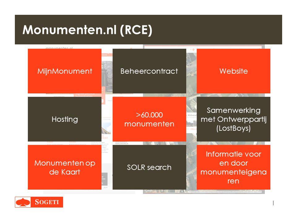 | Monumenten.nl (RCE) WebsiteBeheercontract >60.000 monumenten Informatie voor en door monumenteigena ren Hosting Samenwerking met Ontwerppartij (Lost