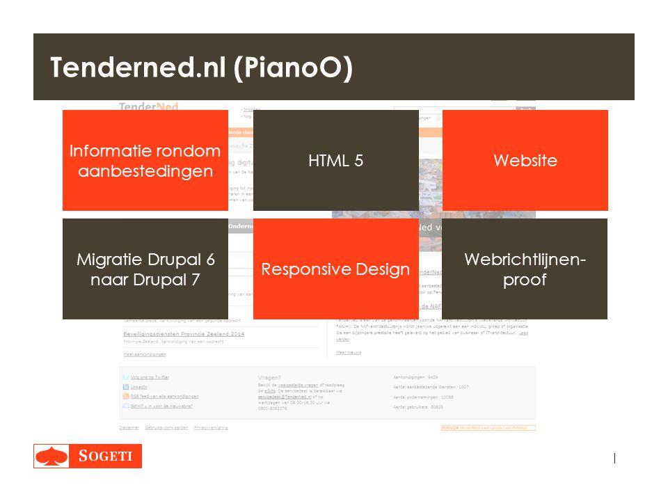 | Tenderned.nl (PianoO) WebsiteHTML 5 Responsive Design Migratie Drupal 6 naar Drupal 7 Webrichtlijnen- proof Informatie rondom aanbestedingen Vertrag