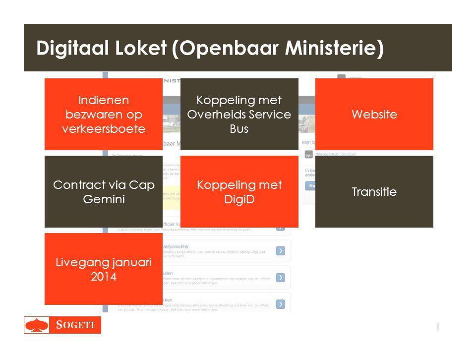 | Digitaal Loket (Openbaar Ministerie) Website Koppeling met Overheids Service Bus Koppeling met DigiD Livegang januari 2014 Contract via Cap Gemini T