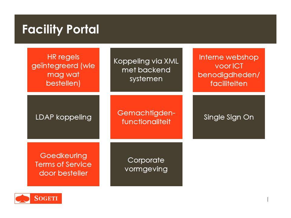 | Facility Portal Interne webshop voor ICT benodigdheden/ faciliteiten Koppeling via XML met backend systemen Goedkeuring Terms of Service door bestel