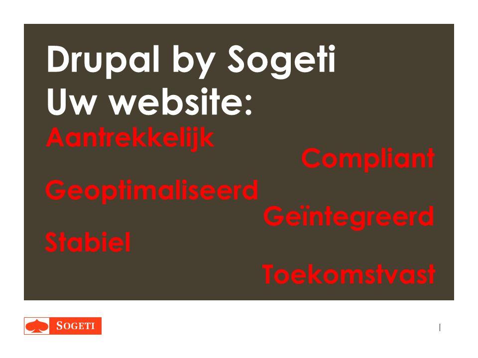 | Drupal by Sogeti Uw website: Compliant Aantrekkelijk Geoptimaliseerd Geïntegreerd Stabiel Toekomstvast