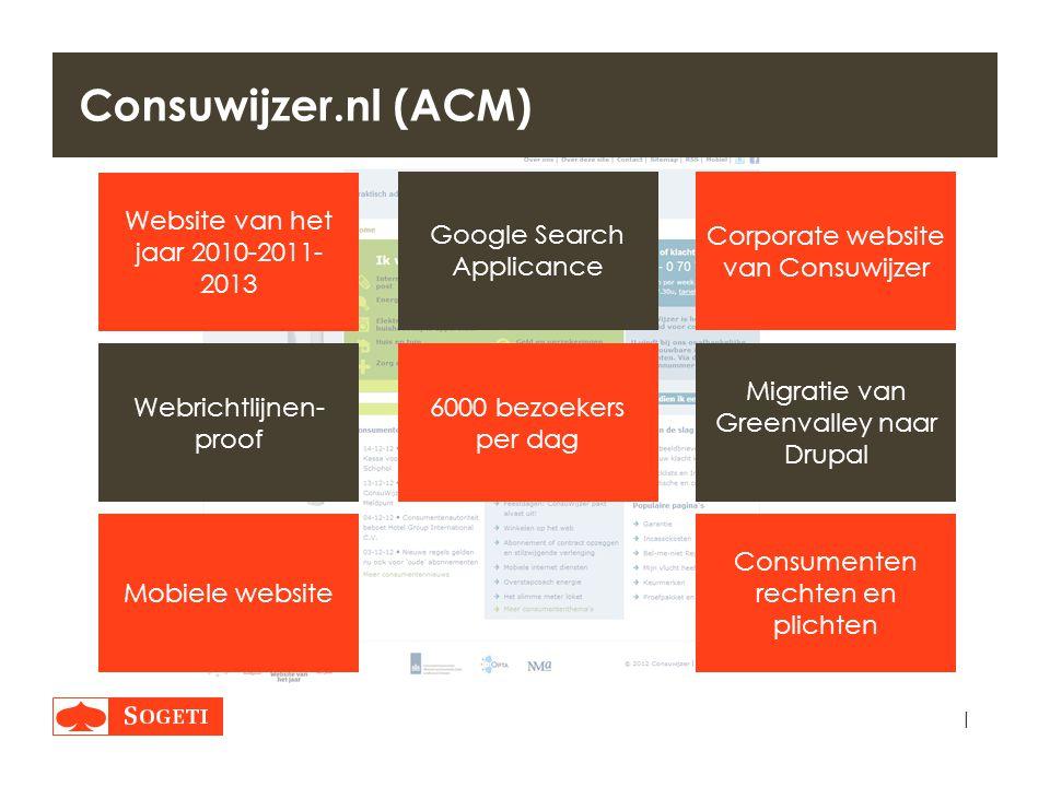 | Consuwijzer.nl (ACM) Corporate website van Consuwijzer Google Search Applicance 6000 bezoekers per dag Consumenten rechten en plichten Mobiele websi