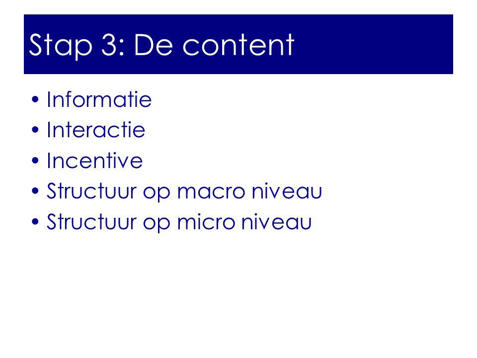 •Informatie •Interactie •Incentive •Structuur op macro niveau •Structuur op micro niveau Stap 3: De content