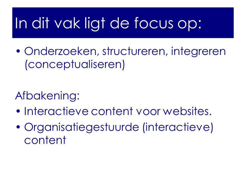 •Onderzoeken, structureren, integreren (conceptualiseren) Afbakening: •Interactieve content voor websites.