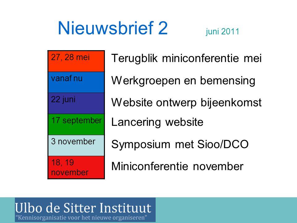 Nieuwsbrief 2 juni 2011 •Terugblik miniconferentie mei •Werkgroepen en bemensing •Website ontwerp bijeenkomst Lancering website •Symposium met Sioo/DC