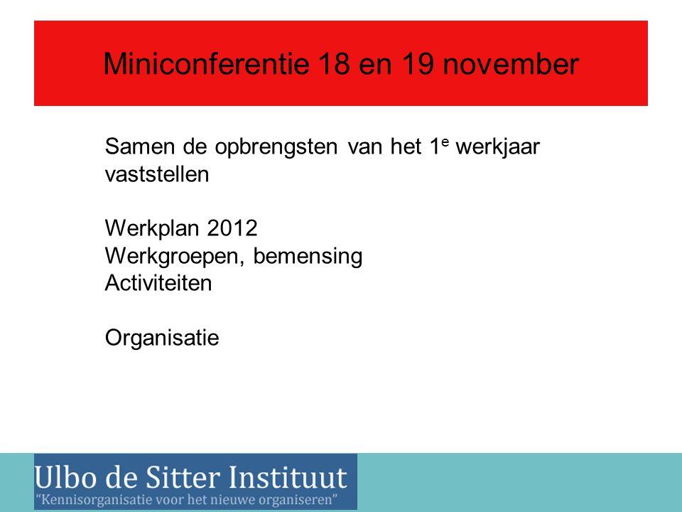 Nieuwsbrief 2 juni 2011 Miniconferentie 18 en 19 november Samen de opbrengsten van het 1 e werkjaar vaststellen Werkplan 2012 Werkgroepen, bemensing Activiteiten Organisatie