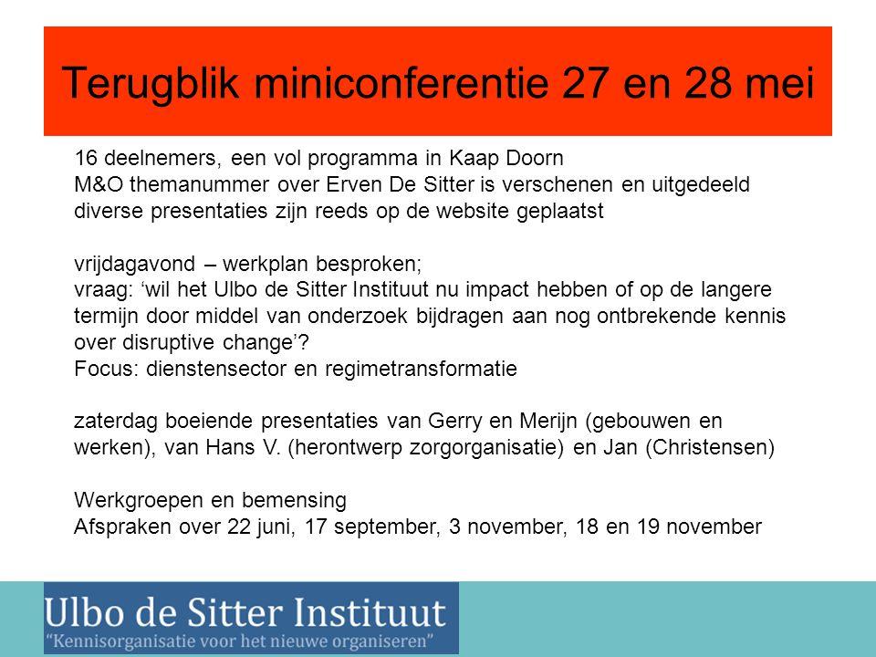 Nieuwsbrief 2 juni 2011 Terugblik miniconferentie 27 en 28 mei 16 deelnemers, een vol programma in Kaap Doorn M&O themanummer over Erven De Sitter is