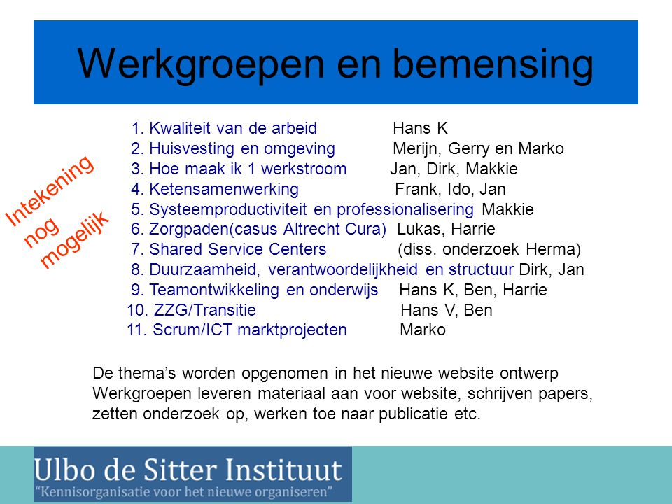 Nieuwsbrief 2 juni 2011 Werkgroepen en bemensing 1. Kwaliteit van de arbeid Hans K 2. Huisvesting en omgeving Merijn, Gerry en Marko 3. Hoe maak ik 1