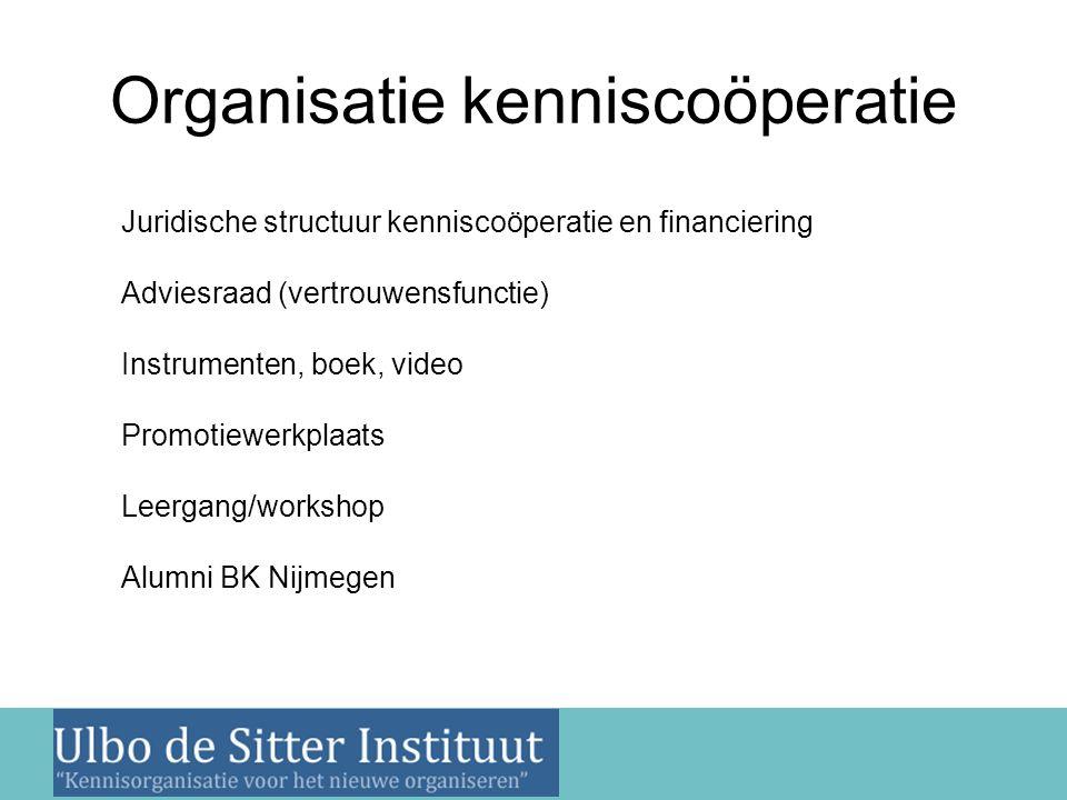 Nieuwsbrief 2 juni 2011 Organisatie kenniscoöperatie Juridische structuur kenniscoöperatie en financiering Adviesraad (vertrouwensfunctie) Instrumente
