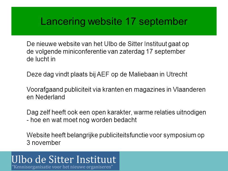 Nieuwsbrief 2 juni 2011 Lancering website 17 september De nieuwe website van het Ulbo de Sitter Instituut gaat op de volgende miniconferentie van zate
