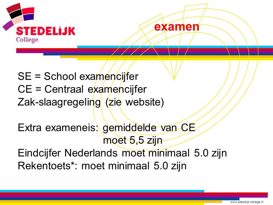 www.stedelijk-college.nl examen SE = School examencijfer CE = Centraal examencijfer Zak-slaagregeling (zie website) Extra exameneis: gemiddelde van CE