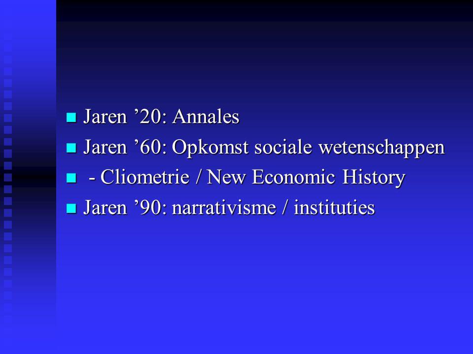  Jaren '20: Annales  Jaren '60: Opkomst sociale wetenschappen  - Cliometrie / New Economic History  Jaren '90: narrativisme / instituties
