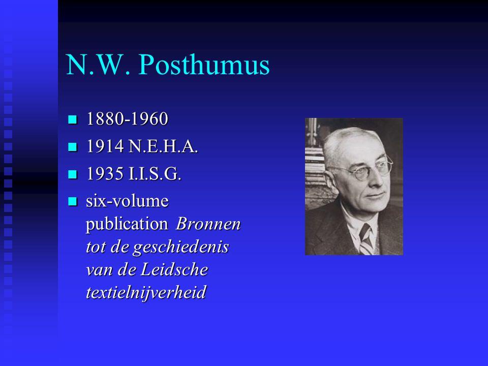 N.W. Posthumus  1880-1960  1914 N.E.H.A.  1935 I.I.S.G.  six-volume publication Bronnen tot de geschiedenis van de Leidsche textielnijverheid