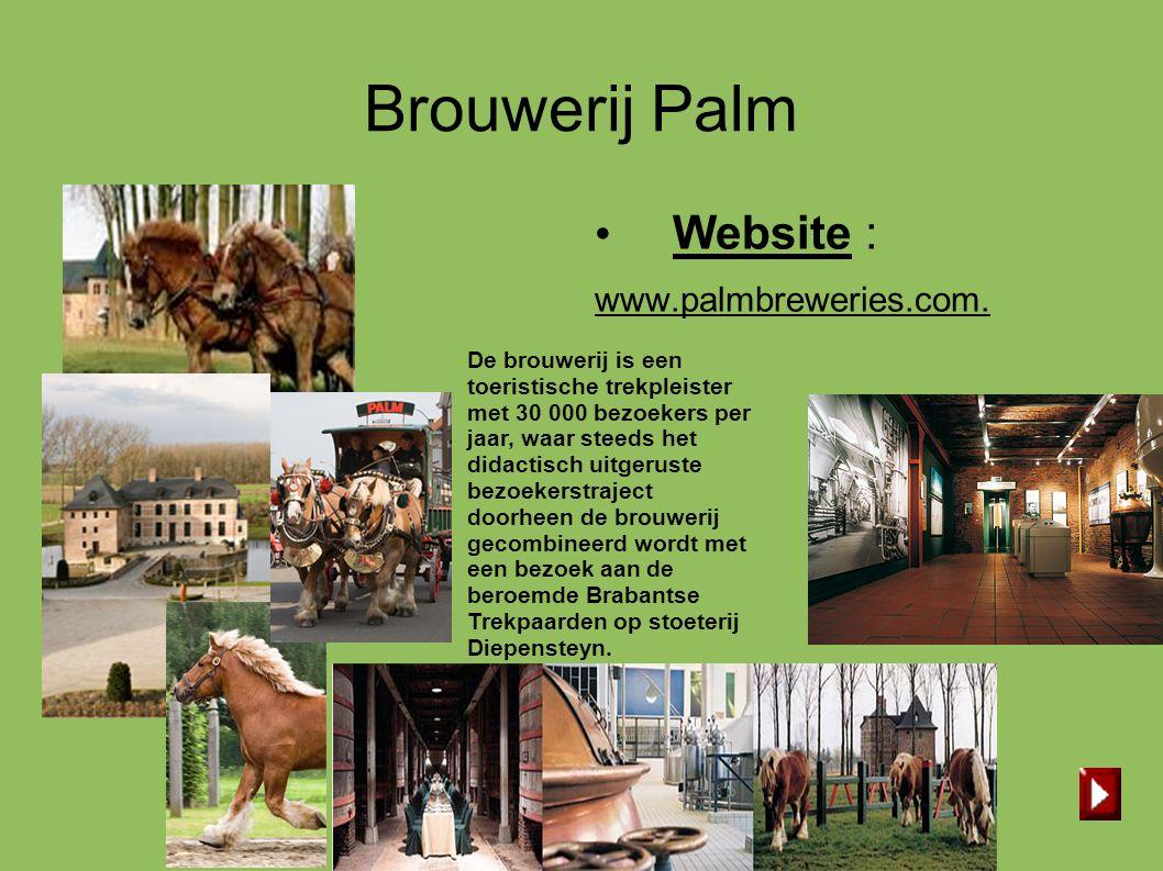 Brouwerij Palm • Website : www.palmbreweries.com. De brouwerij is een toeristische trekpleister met 30 000 bezoekers per jaar, waar steeds het didacti