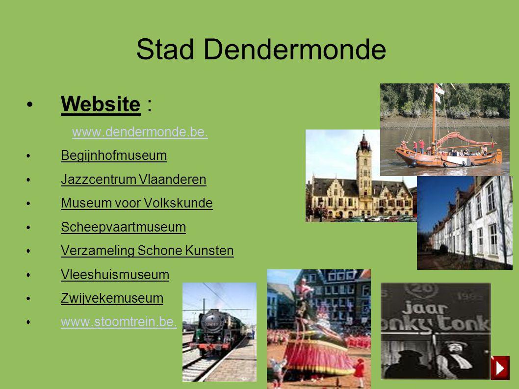 Stad Dendermonde • Website : www.dendermonde.be. • Begijnhofmuseum • Jazzcentrum Vlaanderen • Museum voor Volkskunde • Scheepvaartmuseum • Verzameling