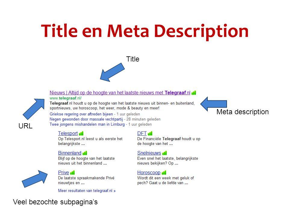 Title en Meta Description Title Meta description URL Veel bezochte subpagina's