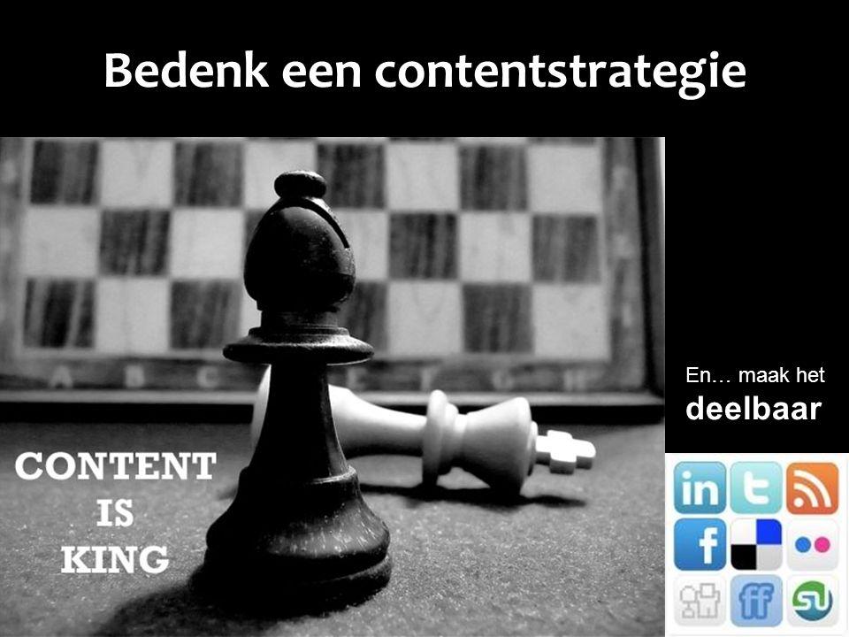 Bedenk een contentstrategie En… maak hetdeelbaar