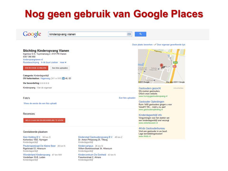 Nog geen gebruik van Google Places