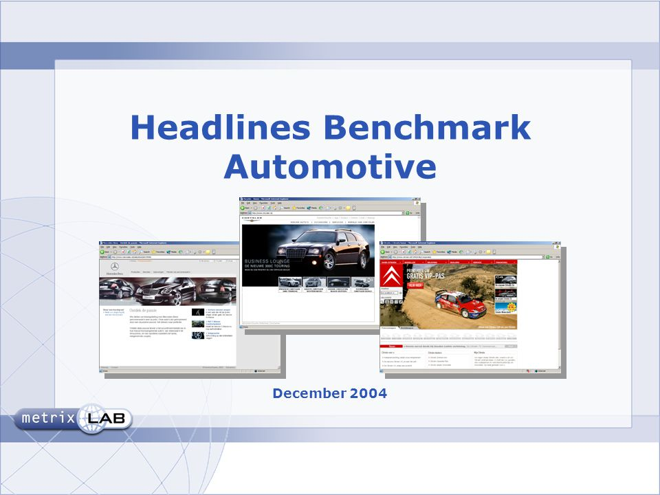 Headlines Benchmark Automotive December 2004