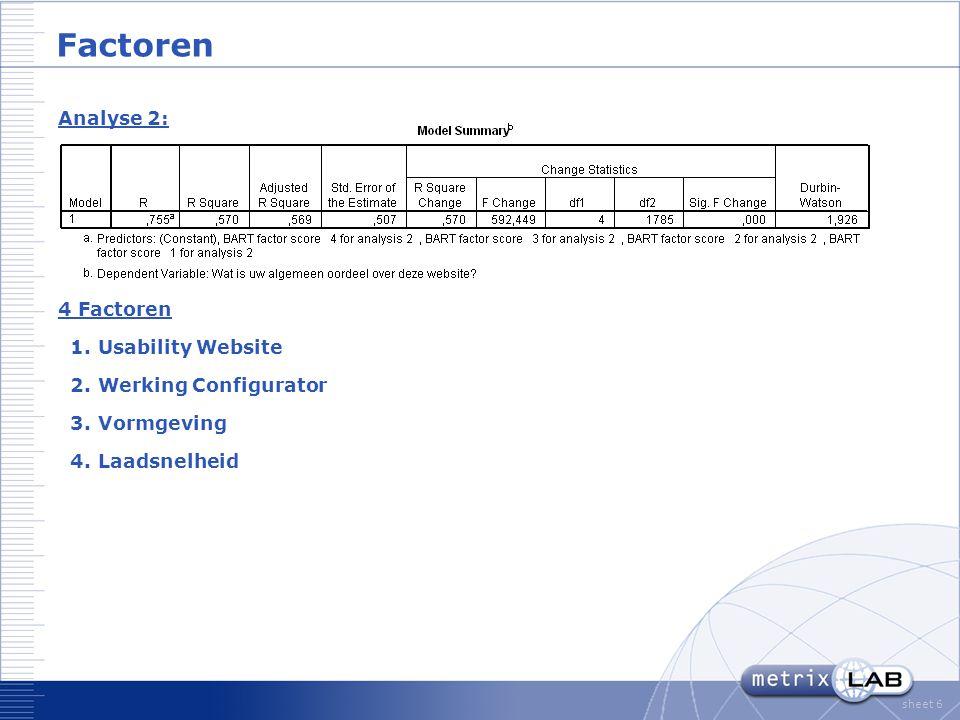 sheet 6 Factoren Analyse 2: 4 Factoren 1.Usability Website 2.Werking Configurator 3.Vormgeving 4.Laadsnelheid