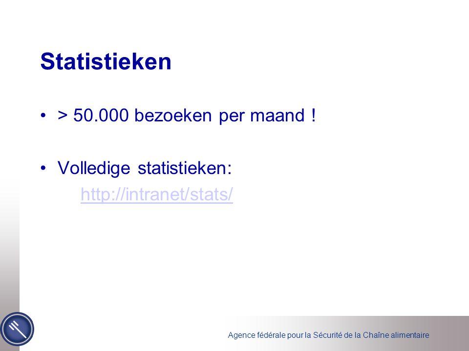 Agence fédérale pour la Sécurité de la Chaîne alimentaire Statistieken •> 50.000 bezoeken per maand ! •Volledige statistieken: http://intranet/stats/