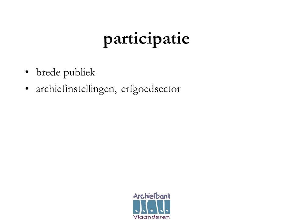 participatie •brede publiek •archiefinstellingen, erfgoedsector
