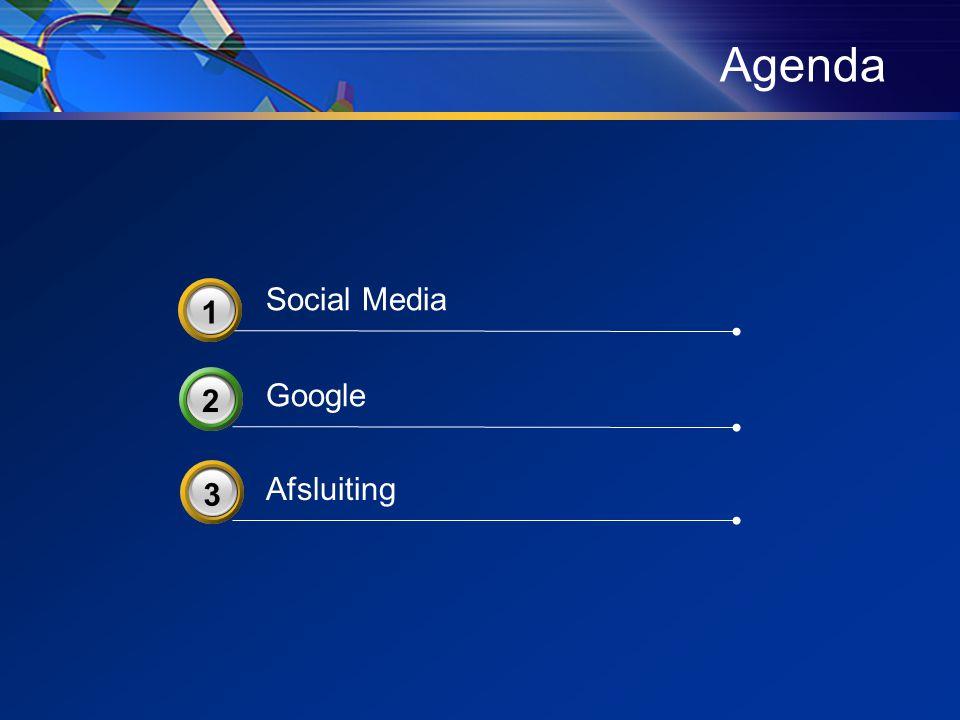 Agenda Google 2 Afsluiting 3 3 Social Media 3 1