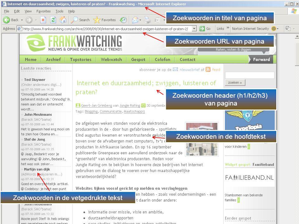 Zoekwoorden in titel van pagina Zoekwoorden URL van pagina Zoekwoorden header (h1/h2/h3) van pagina Zoekwoorden in de hoofdtekst Zoekwoorden in de vetgedrukte tekst
