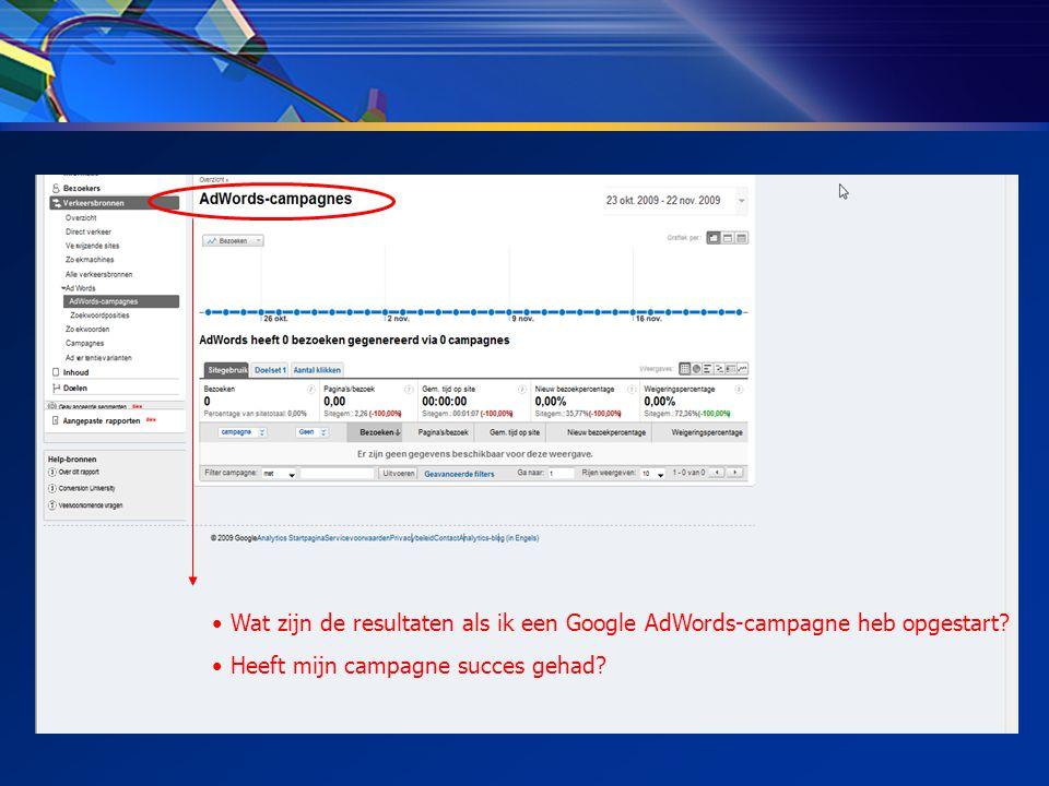 • Wat zijn de resultaten als ik een Google AdWords-campagne heb opgestart.
