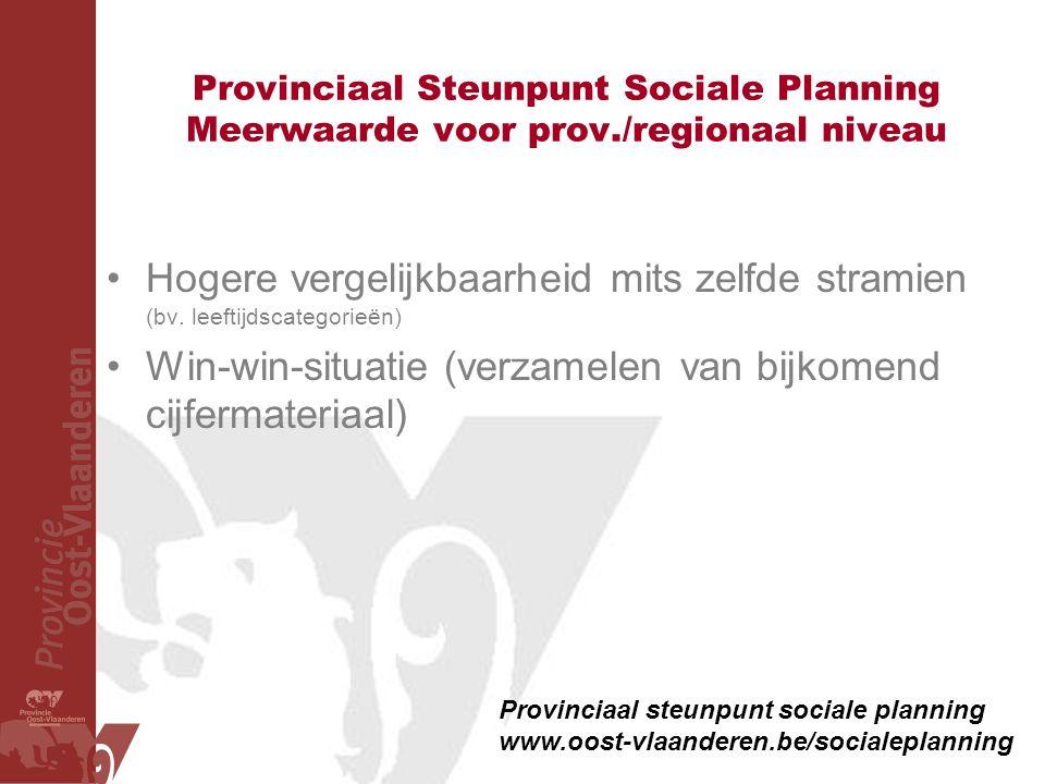 Provinciaal Steunpunt Sociale Planning Meerwaarde voor prov./regionaal niveau •Hogere vergelijkbaarheid mits zelfde stramien (bv. leeftijdscategorieën